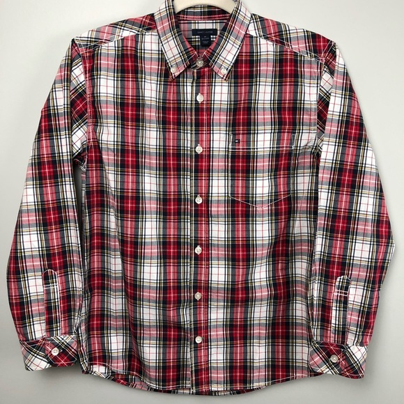 30441e4b Tommy Hilfiger Shirts & Tops   Red And Blue Plaid Button Up Shirt ...